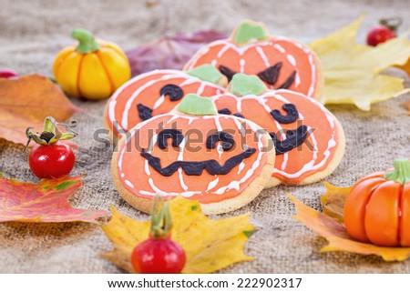 Closeup of Halloween decor pumpkin cookies and assorted pumpkins. Popular American event party decorative dessert idea.
