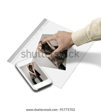 closeup of hand touching screen on futuristic tablet, mutilples path for help you to transform the concept