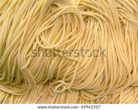 Closeup of handmade fettuccine pasta