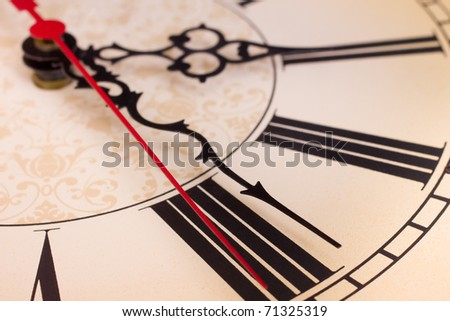 Closeup of hands and roman numerals on a clock
