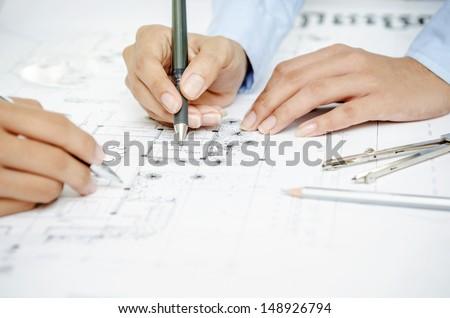 Closeup of hands of design team