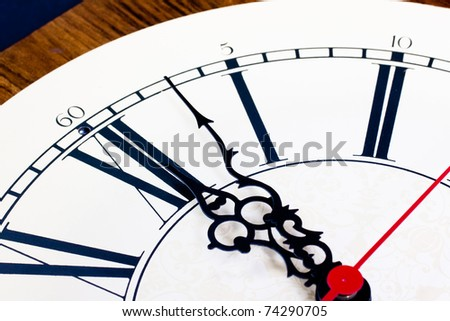 Closeup of hands on a clock just past 12:00