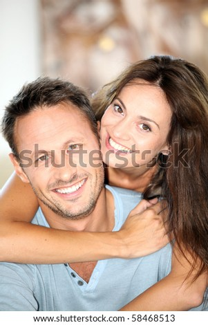 Closeup of happy couple at home #58468513