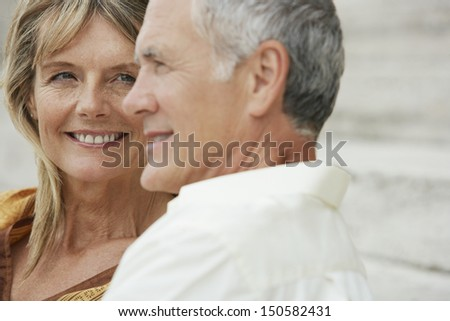 Closeup Of Happy Middle Aged Woman Looking At Man In Rome; Italy