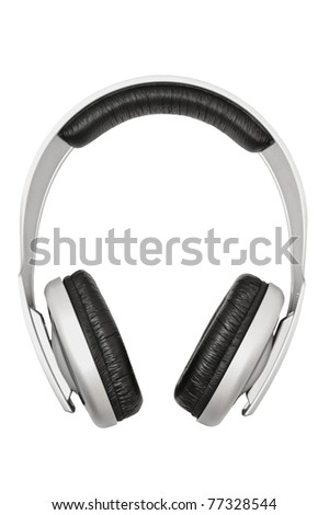 Closeup of headphones, isolated on white background