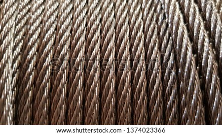 Closeup of heavy duty new steel cable. steel wire or steel sling