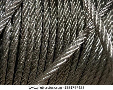 Closeup of heavy duty new steel cable. steel wire or steel sling. Texture and Industrial background