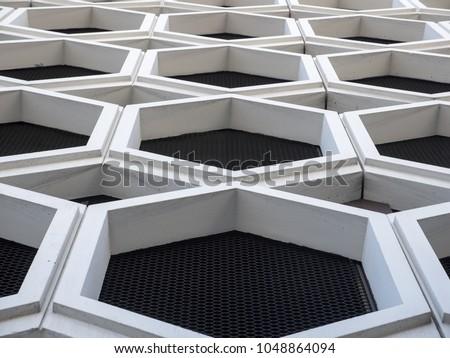 Closeup of hexagonal architecture facade