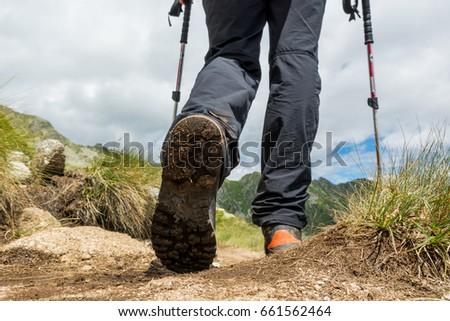 Closeup of hiking boots. #661562464