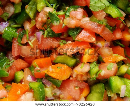 Closeup of homemade fresh pico de gallo (or salsa)