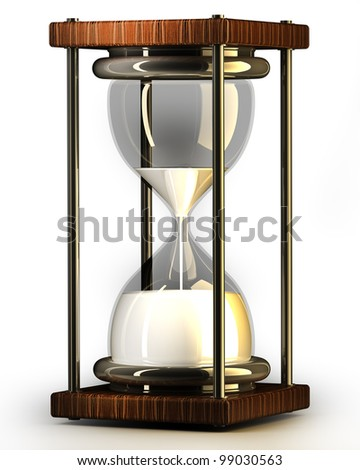 closeup of hourglass in warm on white background 3d render