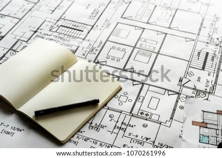 Closeup of house plan blueprint