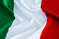Closeup of italian waving flag.