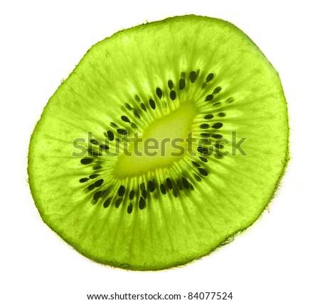 Closeup of kiwi slice isolated on white background