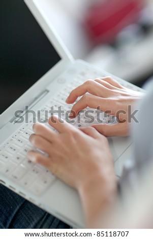 Closeup of laptop computer keyboard