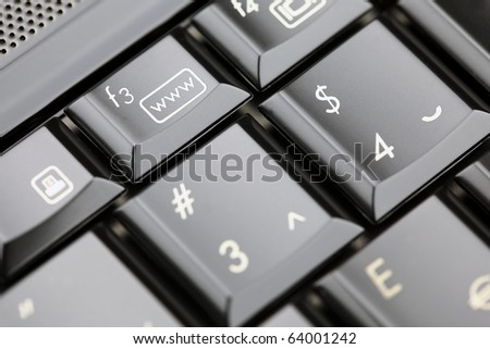 Closeup of laptop keyboard.  Emphasis om www button. Shallow depth of field. Studio work.
