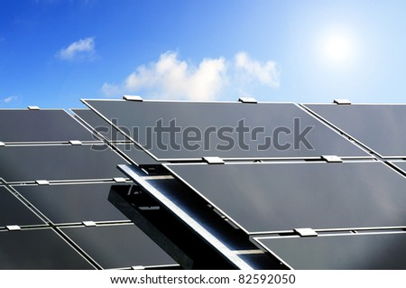 Closeup of large solar panels used to produce electric power from the sun