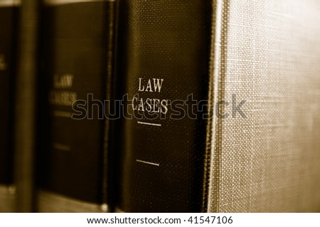 Closeup of law books on a shelf
