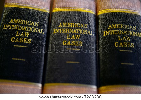 Closeup of law books on a shelf - stock photo