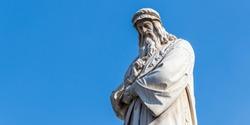 Closeup of Leonardo Da Vinci Statue in Milan, Italy