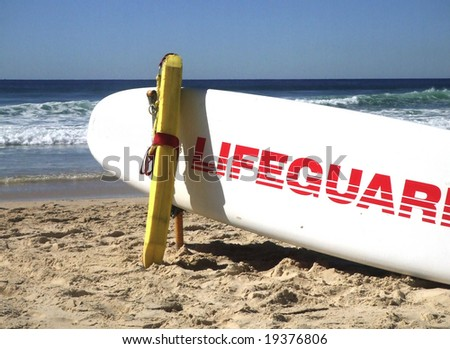 Closeup of lifeguard's surf board on Queensland beach in Australia
