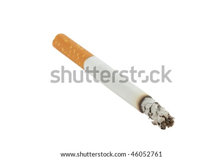 closeup of lit cigarette with ash isolated on white background