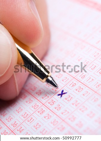 Closeup of lotto slip during the marking of numbers