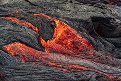 Closeup of magma in Fagradalsfjall volcanic eruption in Reykjanes peninsula around 40 kilometres from Reykjavik, Iceland
