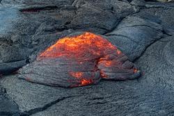Closeup of magma in Fagradalsfjall volcanic eruptiont in Reykjanes peninsula around 40 kilometres from Reykjavik, Iceland