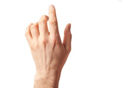 Closeup of male hand pointing. Man hand isolated on white background; clipping path. Man finger points