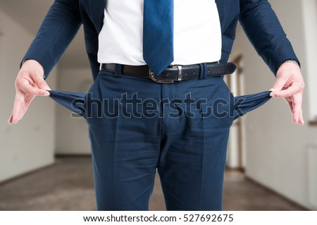 Closeup of male realtor showing his empty suit pockets as bankruptcy concept Stock photo ©