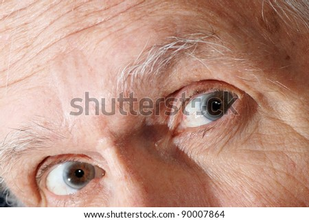 Closeup of man\'s eyes expressing emotions fear, shock, and surprise.