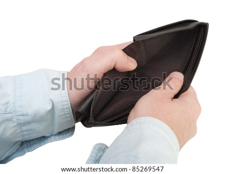 Closeup of Man's Hands Showing Empty Leather Wallet - Isolated on White