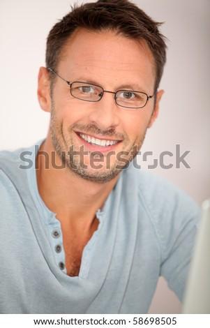 Closeup of man working at home