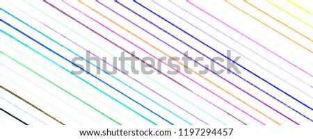 closeup of many little hand drawn multicolored diagonal lines illustration with stains and blots on white background, usage in graphic design and other creative decorations #1197294457