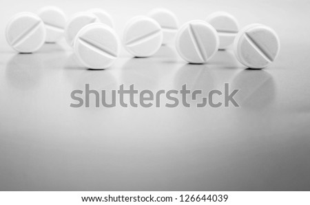 Closeup of many pills