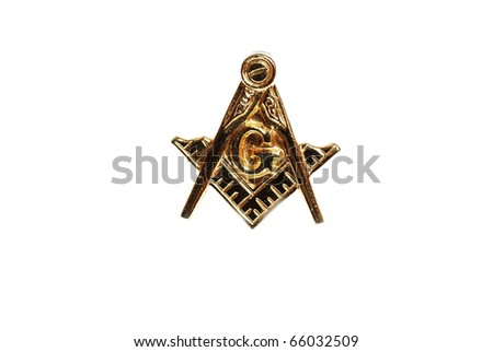 Closeup of Masonic Emblem Lapel Pin isolated on white.
