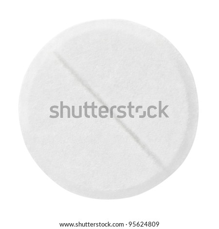 Closeup of medical pill isolated on white background