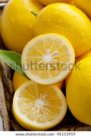 Closeup of Meyer Lemons Freshly Picked Off Tree, a Variety Crossed Between a Mandarin or an Orange and a Regular Lemon, Making for a Sweeter Lemon