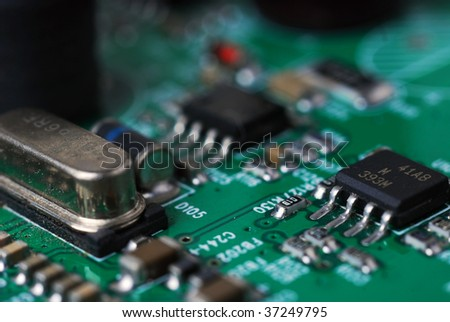 Closeup of microchips on circuit board