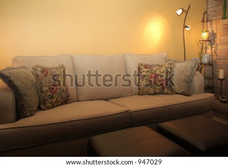Closeup of microfiber couch in living room