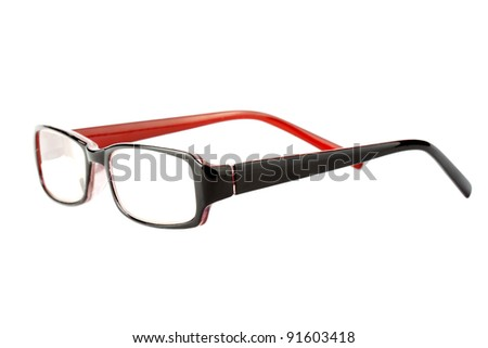 Closeup of modern glasses on the white background.