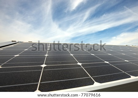 closeup of modern solar panels on a roof
