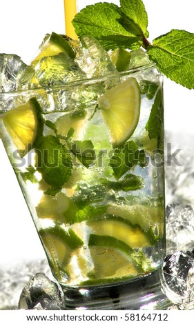 closeup of mojito cocktail on white background with ice