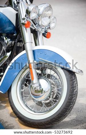 Closeup of motor cycle