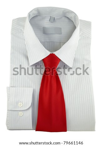 Closeup of new striped shirt with red silk necktie isolated on a white background - stock photo
