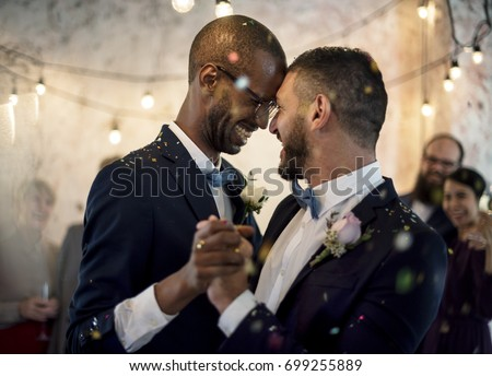 Closeup of Newlywed Gay Couple Dancing on Wedding Celebration Stockfoto ©