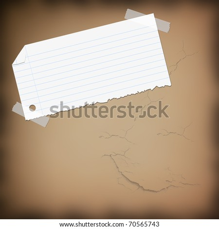 closeup of note paper on background
