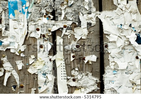 Closeup of obsolete, grunge noticeboard (wooden fence)