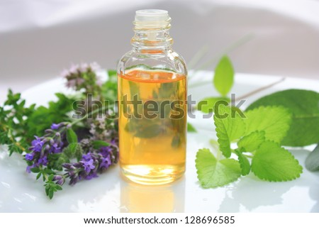 Closeup of oil bottle with fresh green herbs and aromatic flowers. Alternative medicine concept
